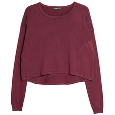 Mango Cropped Jumper, Dark Red ($28) ❤ liked on Polyvore featuring tops, sweaters, jumper, shirts, rayon shirts, crop shirts, extra long sleeve shirts, long sleeve crop top e sleeve shirt