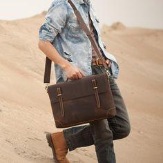 """Men's Handmade Vintage Leather Briefcase / Leather Messenger Bag / 13"""" 15"""" MacBook 13"""" 14"""" Laptop Bag"""
