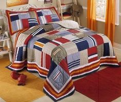 Quilts Patterns Galore Quilts Patterns For Mens Bedrooms Quilts Patterns For Babies Navy Blue Red Patchwork Teen Boy Bedding Twin Fullqueen Quilt Sets Bedspread Twin Quilt, Quilt Bedding, Bedspread, Twin Beds For Boys, Teen Bedding Sets, Flag Quilt, Quilt Blocks, Striped Bedding, Stripe Curtains
