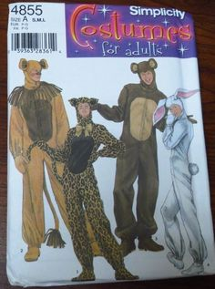 Simplicity Sewing Pattern 4855 Adults Animal Costumes Cat Lion Rabbit Bear #Simplicity