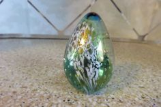 Glass Eye Studio GES 94 Iridescent Egg Paperweight Rainbow Colors & Bubbles
