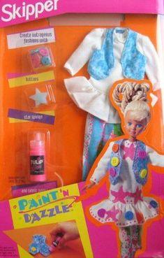 Skipper - Paint 'N Dazzle # Barbie 90s, Barbie Skipper, Vintage Barbie Dolls, Barbie And Ken, Barbie Clothes, Barbie Stuff, Boyfriend Names, Teen Fun, Barbie Doll Accessories