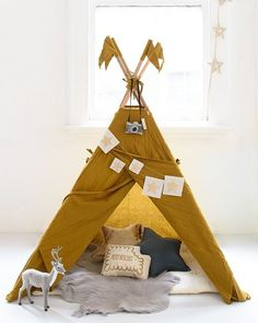 Love this colour! Another one from the shoot for @hellolittlebirdie @nomadeshome @numero74_official @talointeriors @leoandbella @cantfinditau @kidsinteriordesigns #tent #teepee #mustard #kidsroom #child