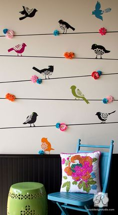 Wall Motif Lace Bird Stencil Set - Royal Design Studio Stencils