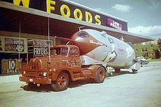"""This early U.S. """"spacecraft"""" wasn't built by NASA or the U.S. Air Force. Long Island-based Silvercup Bread baked up the rocket, inspired by the 1954-56 series, Rocky Jones, Space Ranger. It's shown here parked in front of a Kroger grocery store, circa 1954."""