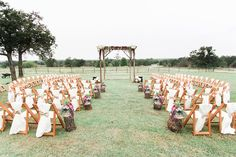backyard wedding ceremony setup - photo by Danielle Elizabeth Inc http://ruffledblog.com/oklahoma-garden-party-wedding