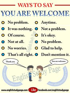 "Other Ways To Say ""You are Welcome"" – English Study Page English Sentences, English Vocabulary Words, Learn English Words, English Idioms, English Phrases, English Study, English Lessons, English English, English Learning Spoken"