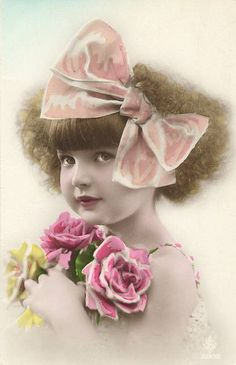 Vintage~sweet little girl tinted photo...