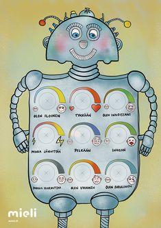 Tunnerobotti tunteiden tunnistamisen, nimeämisen ja tunnesäätelyn harjoitteluun. Robotin avulla lapsi oppii tarkkailemaan tunteidensa elinkaarta ja asioita, jotka tuottavat hänelle esimerkiksi iloa, pelkoa tai harmia. Tulosta robotti A3 kokoiseksi, liimaa pahvilaatikon kylkeen tai vahvalle kartongille ja tunnesäädinten pyörylät leikataan irti. Pyörylöiden kohdille kiinnitetään maitotölkkien korkit kauloineen säätimiksi. Piirrä korkkeihin mustat viivat nuoliksi ja robotti on valmis! Teaching Kids, Kids Learning, Social Skills For Kids, Behaviour Management, Kids Behavior, School Holidays, Early Childhood Education, Special Education, Preschool Activities