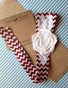 University of Alabama Fabric Flower Headband Crimson Chevron and White Shabby Chic Fabric Flower Head Wrap Roll Tide Etsy Turnip Creations