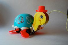 Vintage Fisher Price Pull Toy, Tip Toe Turtle by MilleBebe on Etsy https://www.etsy.com/listing/195939836/vintage-fisher-price-pull-toy-tip-toe