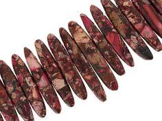 Pink Mardi Gras Appx 12x40mm Mixed Stick Shape Beads Appx 16'