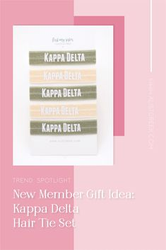 Sorority hair ties are the easiest gift for any celebration: Recruitment, Bid Day, Back to School & Big/Little. Kappa Delta Gifts | Kappa Delta Bid Day | KD Hair Ties | Kappa Delta Recruitment | Sorority Bid Day | Sorority Recruitment | Sorority Hair Tie Gifts | Sorority College Gift | Sorority New Member Gift Ideas #BidDayGifts #SororityHairTies Kappa Delta Sorority, Delta Chi, College Sorority, Sorority Recruitment, Bid Day Gifts, Bid Day Themes, Hair Tie Bracelet, College Gifts, Let Your Hair Down