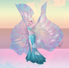 Disney Belly Dancers: Elsa with Isis Wings by Blatterbury.deviantart.com on @DeviantArt