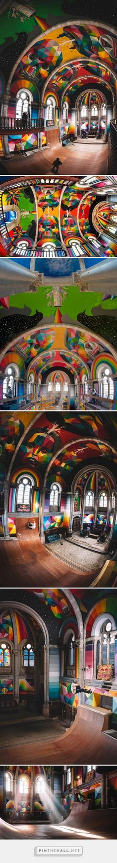 """""""Kaos Temple"""" - Okuda San Miguel (aka Okudart) has transformed a historic church in Llanera, Spain into a colorful haven for skateboarders. Created in collaboration with La Iglesia Skate park and Red Bull, the artist covered the interior sanctuary in vibrant colors and patterns that match the intensity of the sport."""
