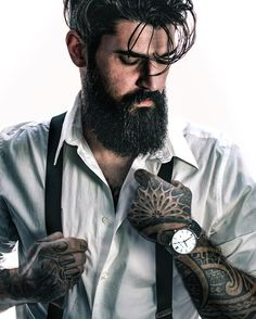Jerry Melo - full thick black beard mustache beards bearded man men mens' style clothing fashion suspenders tattoos tattooed bearding #beardsforever