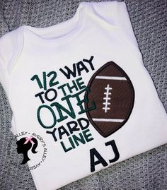 1/2 way to the ONE yard line - Personalized Boys Football Half Birthday Applique White shirt or Bodysuit