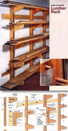 Result for images for Lumber Storage Rack Plans – Woodworking Woodworking Basics, Woodworking Workshop, Woodworking Shop, Woodworking Plans, Woodworking Projects, Firewood Rack Plans, Outdoor Firewood Rack, Lumber Storage Rack, Lumber Rack