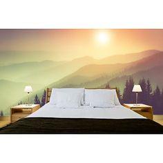 Fotobehang Natuur Misty Mountains is een onwaarschijnlijke realistische muur van Fotobehang. Je merkt pas dat t behang is tot je het aanraakt! Geprint in Full C
