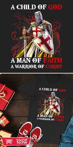 You can click the link to get yours. Mens Knight Templar A Child Of God A Man Of Faith A Warrior. Knight Templar tshirt for Crusader and Knight Templar Lovers. We brings you the best Tshirts with satisfaction. Crusader Knight, Knight In Shining Armor, Knights Templar, Inspirational Gifts, Special Gifts, Faith, God, Children, Link
