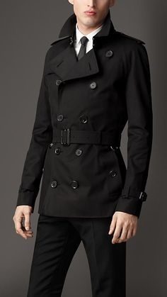 Mid-Length Gabardine Trench Coat with London Leather Detail Trench Coat Men, Burberry Trench Coat, Men Coat, Burberry Men, Gucci Men, Grey Leather Jacket Mens, Black Leather, Casual Blazer, Men Casual
