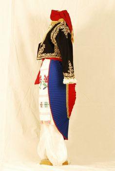 Greek island of Crete, Hania [Χανιά] region, traditional woman garment. Greek Traditional Dress, Greek Costumes, Authentic Costumes, Greek Apparel, Bling Shoes, Folk Dance, Greek Clothing, Folk Costume, Albania
