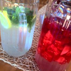 Make your own Vitamin water! First one lemon and mint. Second one watermelon and raspberries! #vitaminwater #healthy #drink
