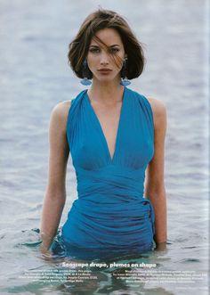 """Blue belles"" by Patrick Demarchelier. Model: Christy Turlington. Vogue UK July 1990"