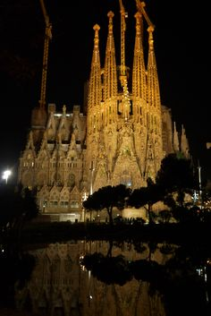 A nite view of towers of sagrada família in Barcelona Spain