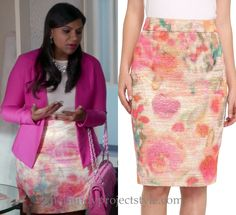 "Mindy wore this metallic watercolor floral print pencil skirt with a jeweled top and pink blazer in ""The Devil Wears Lands' End"" /// Kate Spade Marit Skirt - $128 (was $368)"