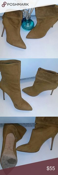 """Brian Atwood Soft Suede Ankle Boots Fabulous Brian Atwood Booties!!! Very chic Italian made soft suede ankle boots. Versatile with adjustable snap in back. These are pre-owned with very minor scuffs and a light scratch on bottom left heel. 4""""inch heels. Very Poshy! B Brian Atwood Shoes Ankle Boots & Booties"""
