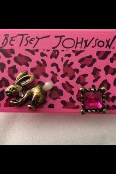 Betsey Johnson mismatched bunny and fuchsia stud earrings