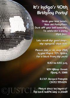 Disco Invitation Template Free Google Search Disco Party