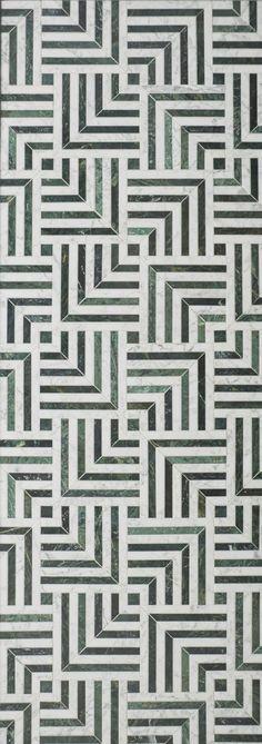 KELLY WEARSTLER X ANN SACKS. 'Liaison Mulholland Small' stone patterned tiles