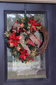 Elegant Red Christmas wreath for front door Christmas