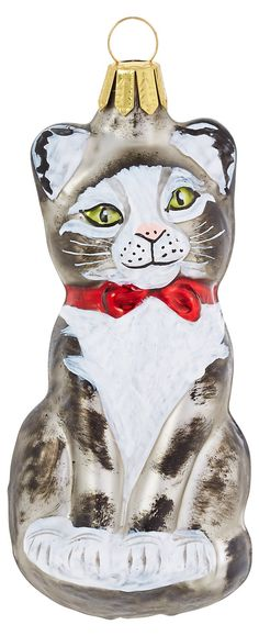 """4""""+Glass+Cat+Ornament+ +Let's+Get+Merry!+ +One+Kings+Lane"""