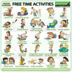 A list of 101 free time activities in English with a video to help with the pronunciation of these common activities. Spanish Activities, Vocabulary Activities, Learning Activities, Daily Activities, Learn English Words, English Lessons, English Time, Freetime Activities, Woodward English