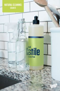 A natural way to get all your granite surfaces looking like new again. 1. Combine rubbing alcohol, water and castile soap in a spray bottle. Spray onto granite surface and wipe with scrubbing side of Granite Cleaning Pad. 2. Then, flip over cleaning pad to the polishing side and shine your granite back to its original glory. You can get the full tip at here.