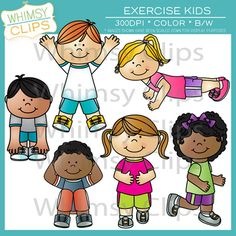 The exercise kids clip art set features 6 kids exercising. This set contains 12 image files, which includes 6 color images and 6 black and white images in png and jpg. All image are 300dpi for better scaling and printing. $