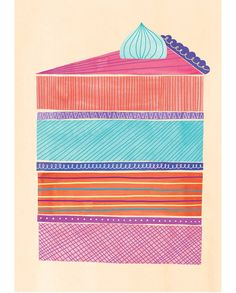 This cake looks so colorful and yummy! // Cake Slice Print // Marisa Seguin on Etsy