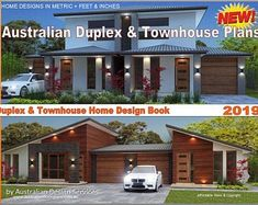 Australian Duplex & Townhouse Home Design E-Book Plan Duplex, Duplex Floor Plans, Modern Floor Plans, Modern House Plans, House Floor Plans, Townhouse Designs, Duplex House Design, Autocad, Double Storey House Plans