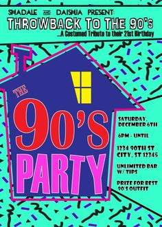 90's Theme House Party - Digital Birthday Invitation   CreativeBlueprints - Children's on ArtFire