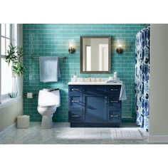 Home Decorators Collection Lincoln 42 in. W x 22 in. H Vanity in Midnight Blue with Cultured Stone Vanity Top in White with White Sink - Home Design Bathroom Vanity, Top Bathroom Design, Eclectic Bathroom, Bathroom Interior, Teal Bathroom, Bathroom Shop, Small Bathroom, Blue Bathroom, Bathrooms Remodel