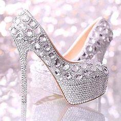 Brillantes De Plata Hecho A Mano Diamante Grano Rhinestone Wedding Bridal Zapatos Tacones Altos