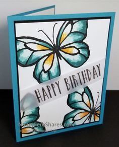 Order Stampin' Up! Card making ideas and tips by Nancy Ferb using Stampin' Up!'s creative paper crafting products. Butterfly Cards, Pretty Cards, Creative Cards, Unique Cards, Happy Birthday Cards, Scrapbook Cards, Homemade Cards, Stampin Up Cards, Beautiful Day