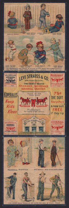 Union-Made: Circa 1915 Levi Strauss & Co. Overalls and Koveralls Advertising Piece