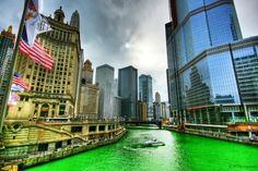 They're dying the Chicago River green on 3/14 AT 9:26:53  #PiDay Love this picture of the Chicago RIver