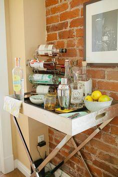 Future coffee bar/Butler Tray + Stand from west elm Bar Cart Styling, Bar Cart Decor, Bandeja Bar, Butler Tray, Bar Tray, Gold Bar Cart, Bars For Home, Home Decor Inspiration, Decor Ideas