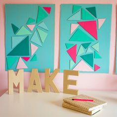 You can make this awesome triangle wall art for pennies with a supply that might surprise you. Can you guess what it is made from?!