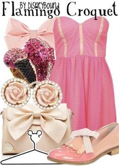 ♥ this flamingo croquet outfit by Disneybound!! Pink and vanilla white go so well together!! ♥
